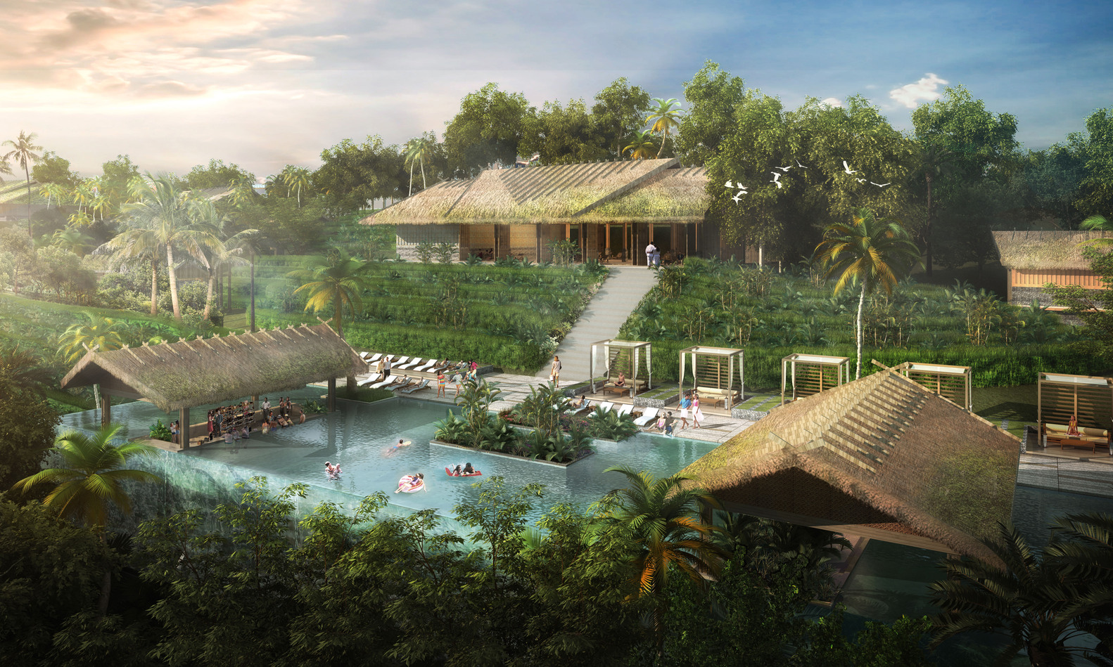 Курорт во Вьетнаме - 3D | Зеленые крыши